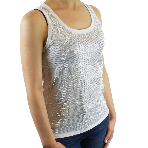 Damen Shirt Top TXR136 weiss Strasssteine